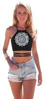 MIXMAX Women Teen Girls Crisscross Halter Sexy Vest Crop Tank Top