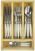 Laguiole by Louis Thiers Lineaire 24 Piece Cutlery Set Handle: White