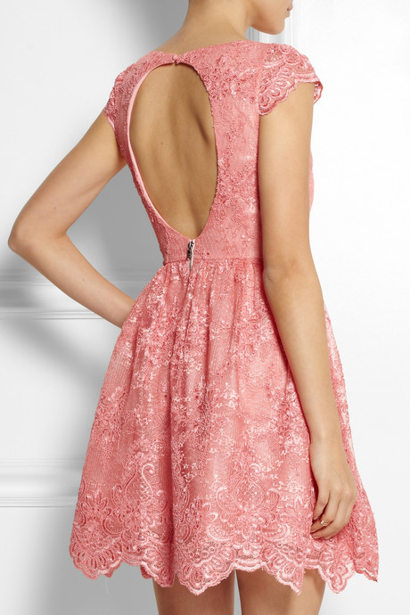 Alice + Olivia Zenden embroidered lace mini dress