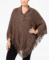 Karen Scott Plus Size Cable-Knit Fringe Poncho, Only at Macy's