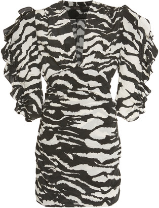 Isabel Marant Farah Zebra-Print Stretch-Silk Mini Dress