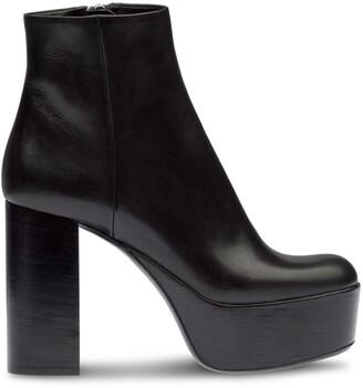 Miu Miu Square-Toe Platform Ankle Boots