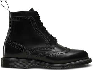 Dr. Martens Delphine Leather Lace-Up Ankle Boots with Chunky Heel