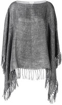 Brunello Cucinelli fringed poncho - women - Linen/Flax/Polyamide/Polyester - One Size