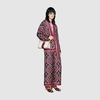 Gucci Kimono style top with Interlocking G ribbon print