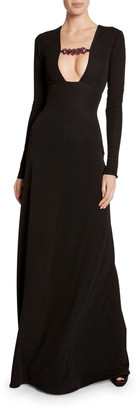 Tom Ford Oversized Chain-Trim Deep V-Neck Gown