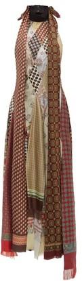 Loewe Scarf-patchwork Silk Long Dress - Multi