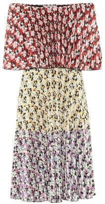 Valentino floral pleated jersey dress