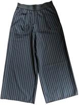 Bassike Navy Wool Trousers for Women