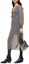 Topshop Ditsy Ruffle Long Sleeve Chiffon Midi Dress