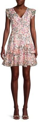 Saloni Ruffled Floral Flare Dress