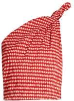 Rosie Assoulin One-shoulder gingham top