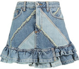 Marc by Marc Jacobs Ruffled Patchwork Denim Mini Skirt