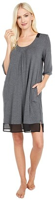 Donna Karan Modal Spandex Sleepwear Sleepshirt (Black) Women's Pajama