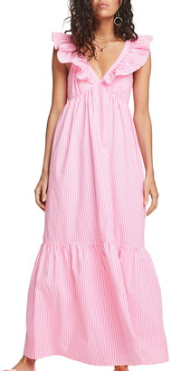 Scotch & Soda Ruffle Trim Stripe Maxi Dress