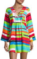 J Valdi Lace-Up Striped Cover-Up Dress