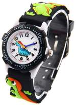 Happy Cherry Kids Watch Teaching Watches 3D Elastic Strap Dinasour Pattern Watch For Boys - Black