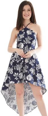 Iz Byer Juniors' Scalloped Neck Cutaway High-Low Hem Halter Dress