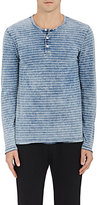 Barneys New York MEN'S STRIPED COTTON LONG-SLEEVE HENLEY