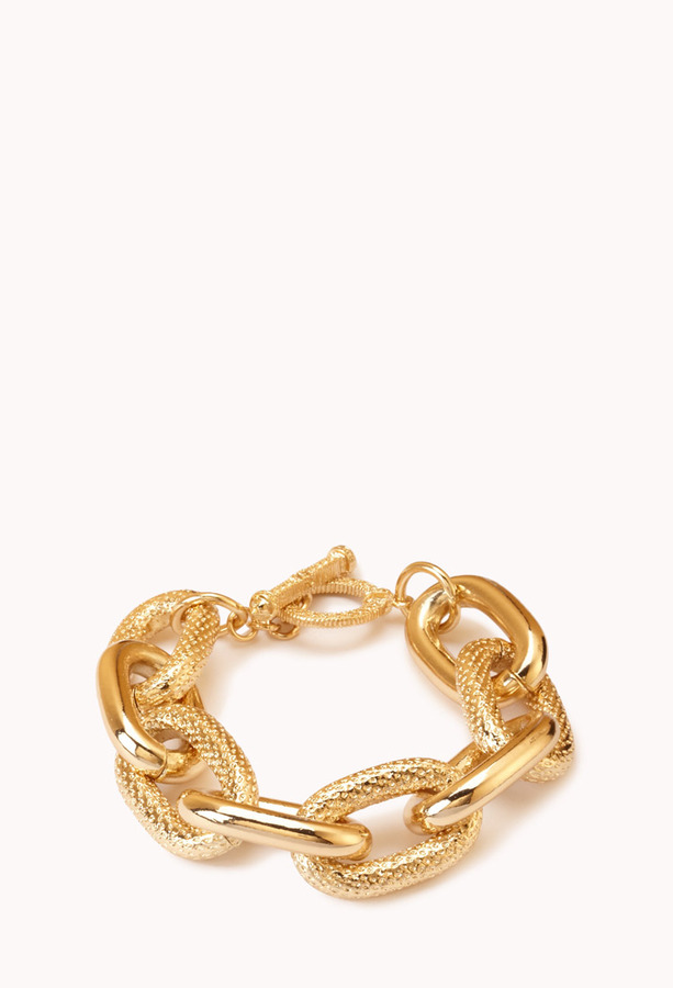 Forever 21 Classic Hammered Chain-Link Bracelet