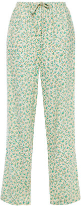 American Vintage Kuna Floral-print Linen-blend Twill Wide-leg Pants
