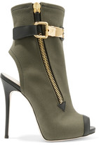 Giuseppe Zanotti Roxie Leather-trimmed Canvas Ankle Boots - Army green