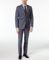 Ben Sherman Men's Slim-Fit Blue/Black Plaid Suit