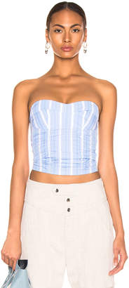Jil Sander Strapless Bustier Top in Light Pastel Blue | FWRD