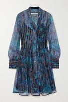 See by Chloe Pussy-bow Metallic Floral-print Silk-blend Georgette Dress