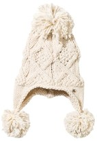 Ikks Cream Cable Knit Pom Pom Hat