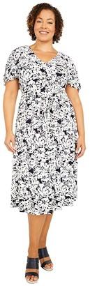 Lauren Ralph Lauren Plus Size Leota Short Sleeve Day Dress (Lighthouse Navy/Colonial Cream) Women's Dress