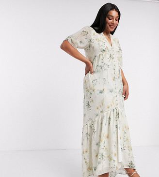 Hope & Ivy Plus exclusive button front maxi dress with high low hem in soft floral