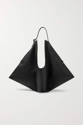 The Row Flat Hobo Small Leather Shoulder Bag - Black