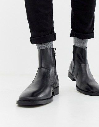 Asos DESIGN chelsea boots in black leather with square toe