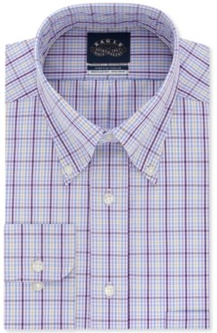 Eagle Men's Classic/Regular-Fit Non-Iron Stretch Collar Violet Check Dress Shirt