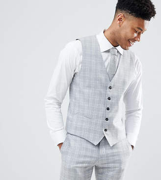 Selected Skinny Fit Waistcoat In Grey Check