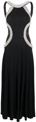 John Richmond Crystal-Embellished Flared Gown