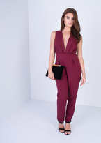 Missy Empire Vicki Wine Tie Back Jumpsuit