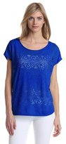 Chaus Women's Pointelle Jacquard Double Layer Tee