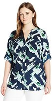 Calvin Klein Women's Plus-Size Printed Roll-Sleeve Top