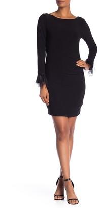 Marina Long Sleeve Feather Trim Dress