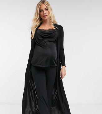 Club L London Maternity slinky maxi jacket co ord in black