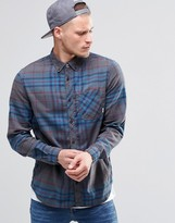 Element Buffalo Check Flannel Shirt In Regular Fit In Stone Grey Buttondown