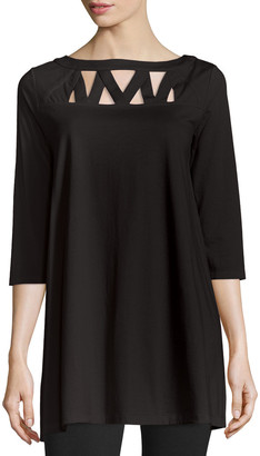 Joan Vass Petite 3/4-Sleeve Yoke-Cutout Tunic