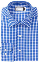 Lorenzo Uomo Long Sleeve Trim Fit Medium Check Dress Shirt