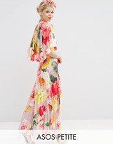 Asos WEDDING Pleated Maxi Dress with Drape Back Cape Sleeve