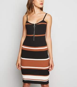 New Look Pink Vanilla Stripe Ribbed Bodycon Dress