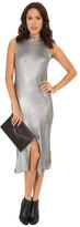 MinkPink Shine Bright Foiled Knit Split Hem Dress