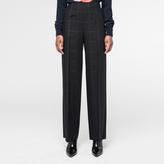 Paul Smith Women's Wide-Leg Black Tonal-Check Wool Trousers