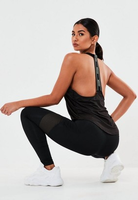 Missguided Active Black Msgd Tape Tank Top